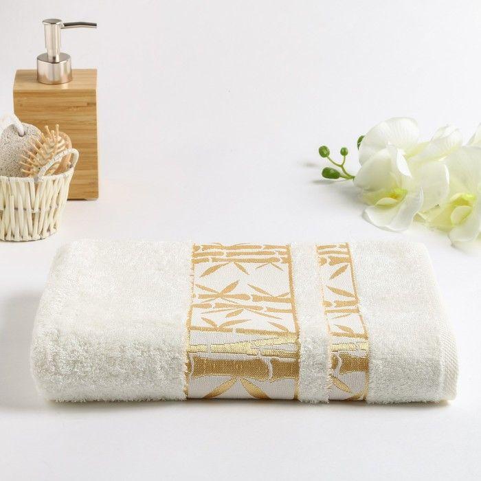 Полотенце махровое Бамбук 002 70х130 см, св.кремовый, бамбук 100%,  450г/м2 4857865
