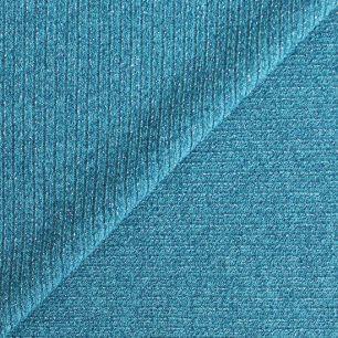 Лоскут трикотажной ткани - Лапша бирюзовая с люрексом 50х40