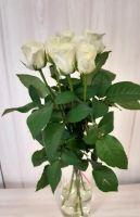 7 белых роз (60 см)