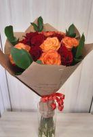 15 Красных и оранжевых роз (60 см)