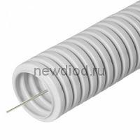 Труба гофрированная ПВХ легкая 350 Н серая с/з д16 (50м/уп) Промрукав