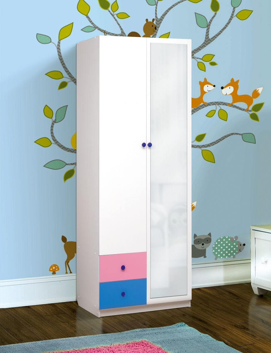 """Шкаф 2-х дверный комбинированный с ящиками и зеркалом """"Радуга"""""""