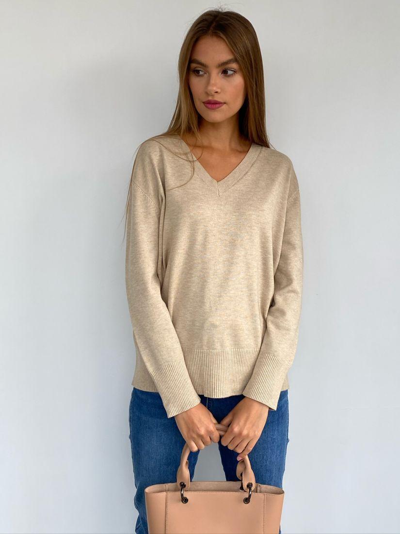 s2456 Пуловер бежевый
