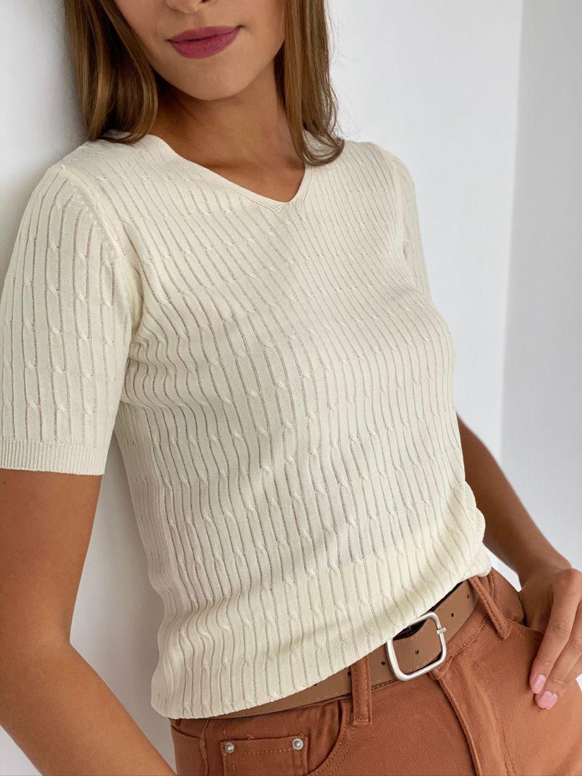 s2467 Пуловер тонкий в цвете айвори