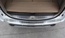 Накладки на задний бампер + в проем двери багажника, матовая сталь