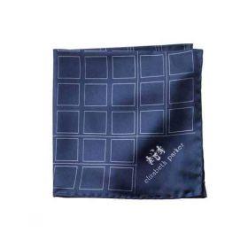 """Английский нагрудный платок  Темно-синяя сетка"""" NAVY BLUE CHECK GRID SILK POCKET SQUARE"""