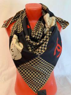 Шелковый платок Chanel с рогожкой, арт 115