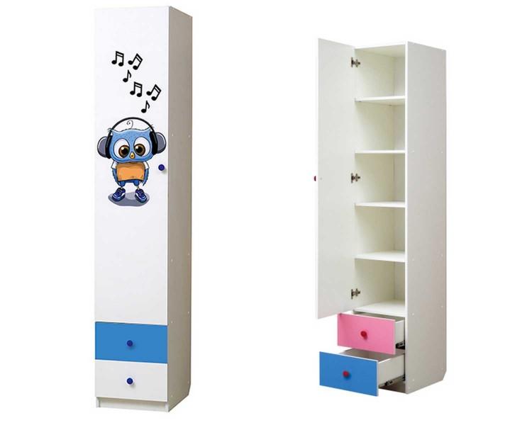 """Совята Шкаф 1-но дверный с ящиками и фотопечатью """"Совята"""" 1.3"""