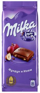 Шоколад MILKA 90г Молочный изюм/фундук