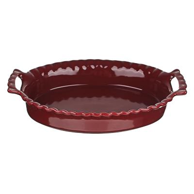 MILLIMI Форма для запекания и сервировки овальная с ручками, керамика, 31х20,5х6см, бордо