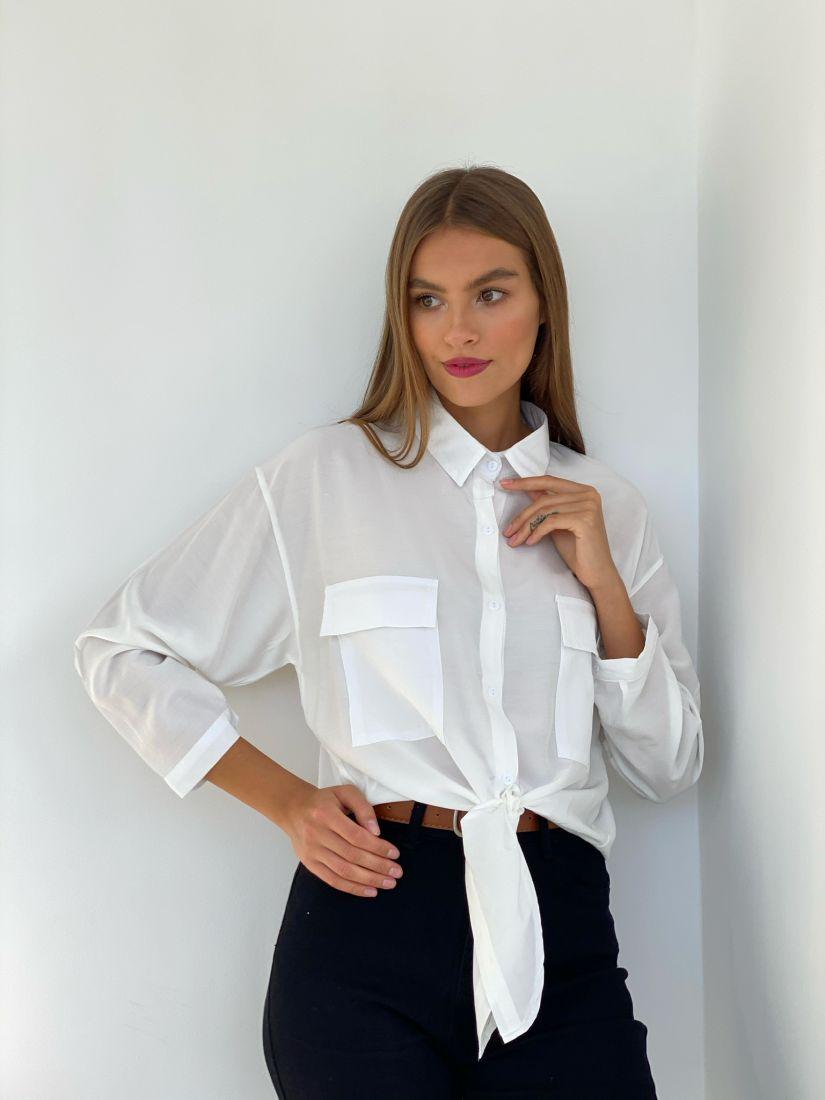 s2493 Рубашка с завязками белая