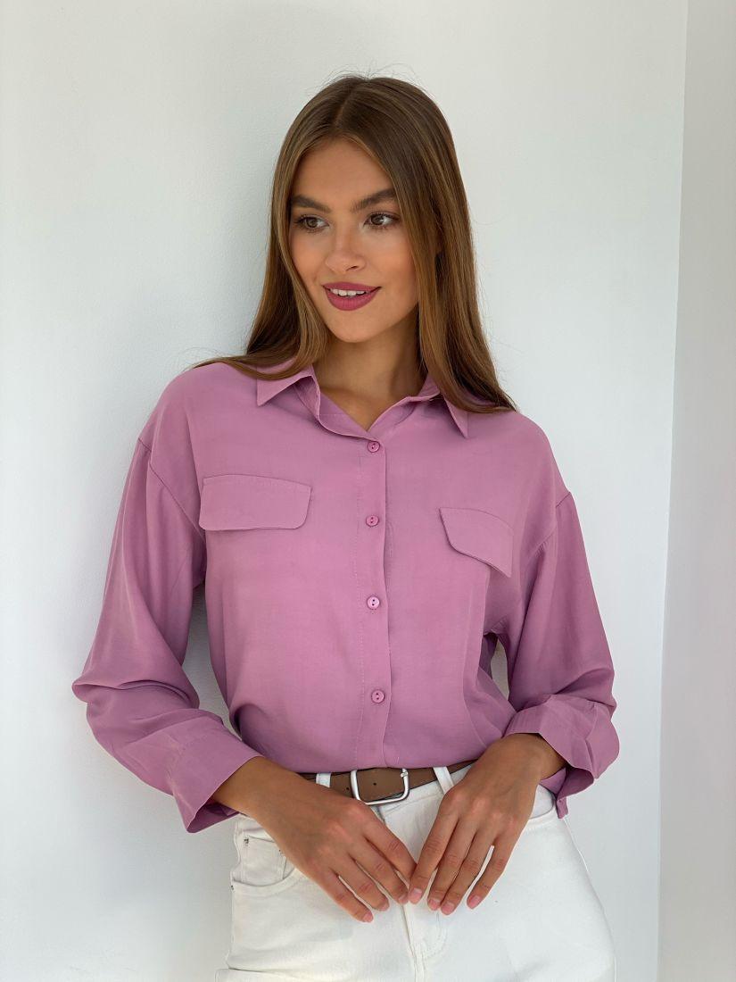 s2501 Рубашка с клапанами лавандовая