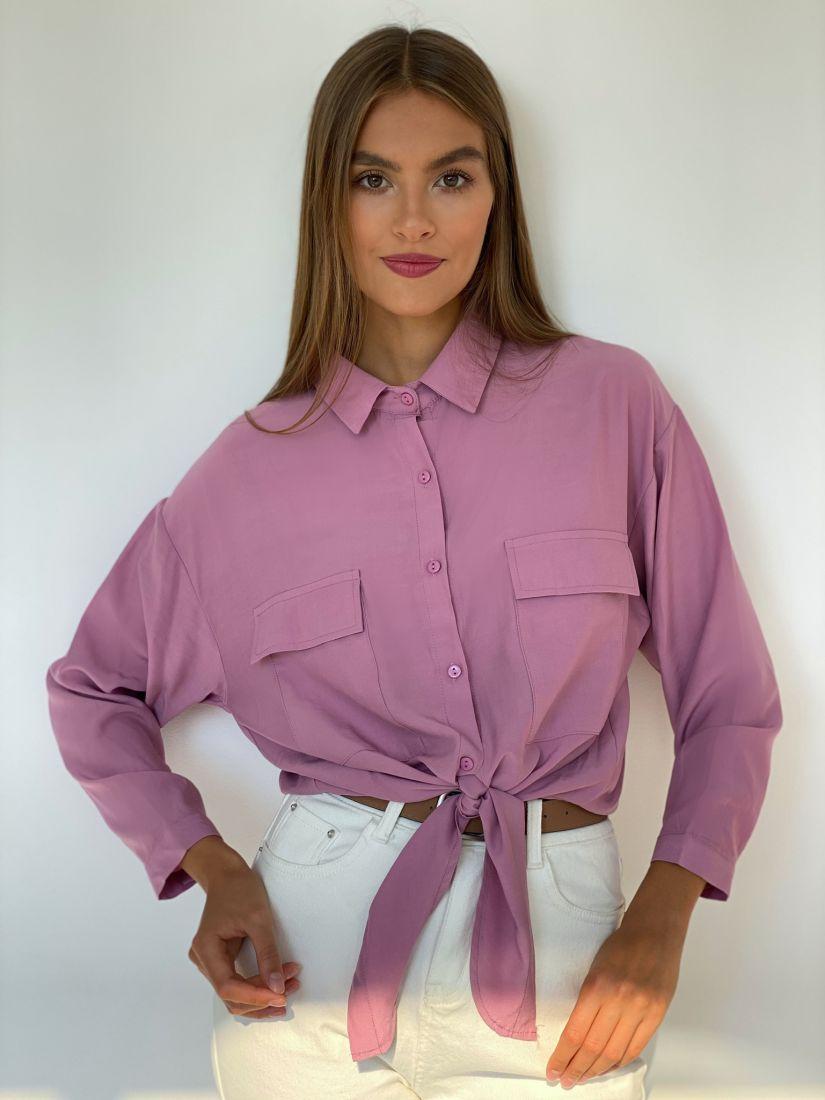 s2502 Рубашка с завязками лавандовая