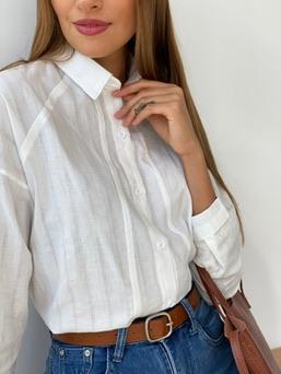 s2529 Рубашка с рукавом-реглан белая