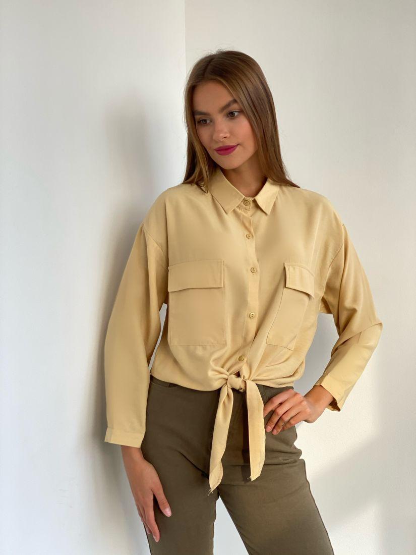 s2533 Рубашка с завязками бежевая