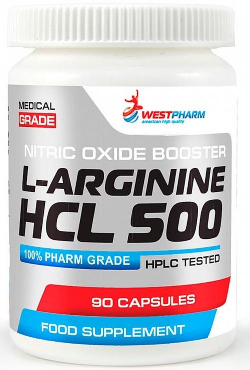 L-Arginine HCL 500 мг от WestPharm 90 кап