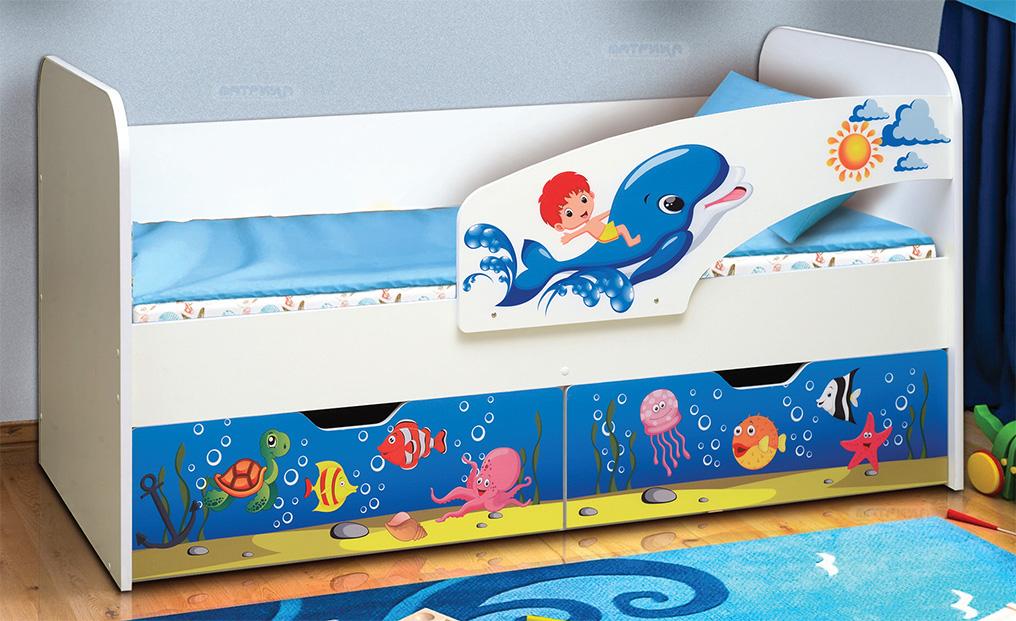 """Кровать детская с фотопечатью """"Дельфин"""""""