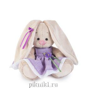 Зайка Ми в фиолетовом платье с цветочком 15 см
