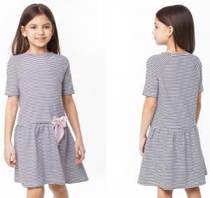 ДИСКОНТ VILATTE F42.081 Платье для девочки черный-белый