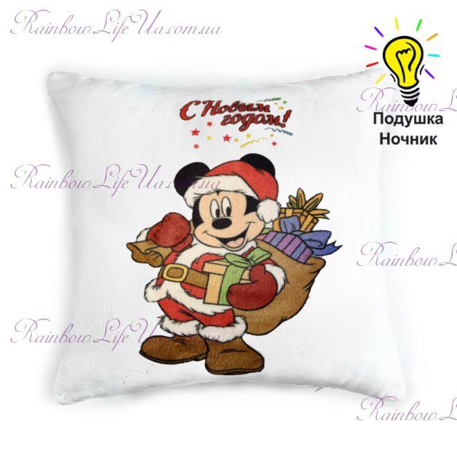 "Подушка - ночник новогодняя светящаяся ""Санта Микки Маус"""