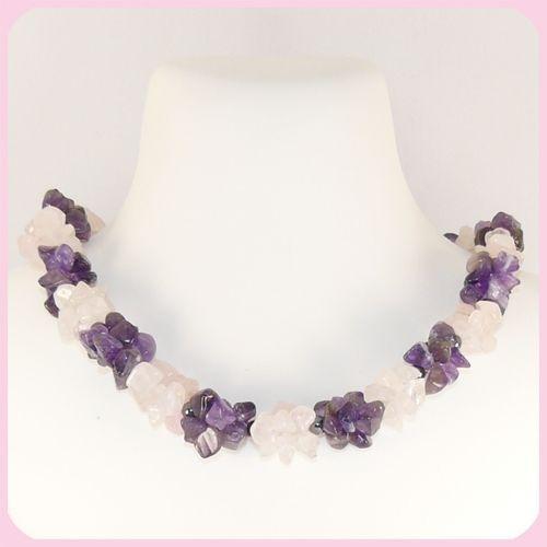 Ожерелье - Эвредика - из аметиста, кварца розового, агата черного