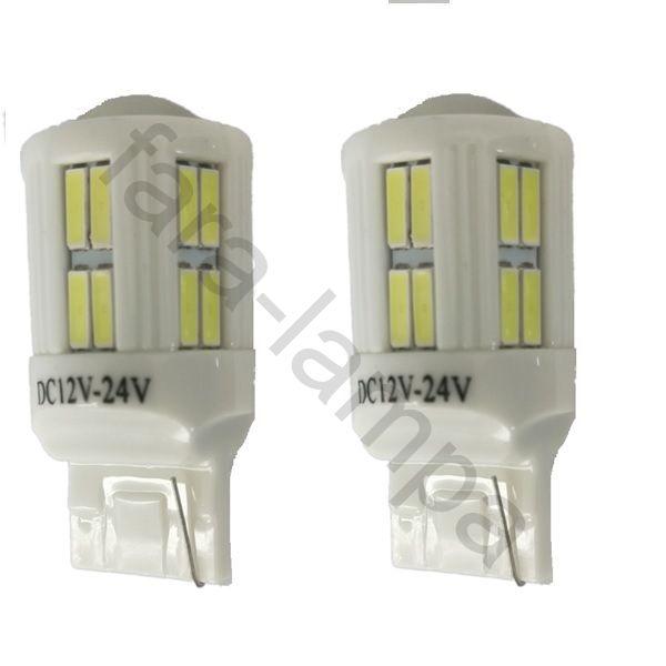 Автомобильные светодиодные лампочки в поворотники оранжевые T20-28-7020