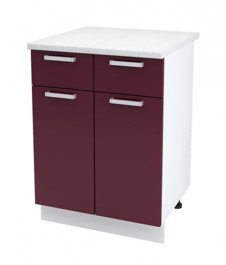 Шкаф нижний 2-х дверный с ящиками Глория ШН1Я 600