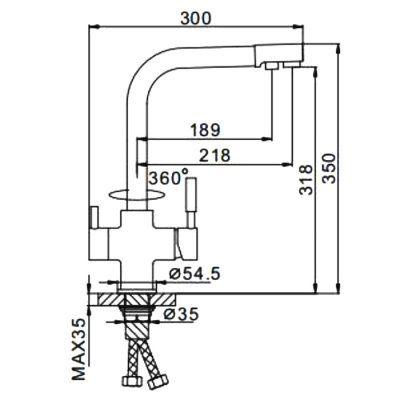 Смеситель д/кухни с подключ.фильтра питьев.воды F4352-22