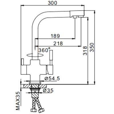 Смеситель д/кухни с подключ.фильтра питьев.воды F4352-24