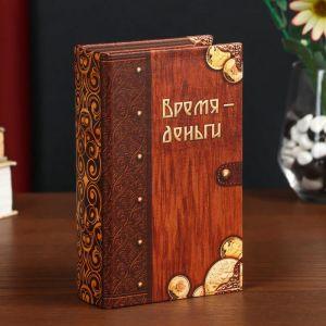 "Сейф-книга дерево кожзам ""Время - деньги"" 17х11х5 см   4793964"