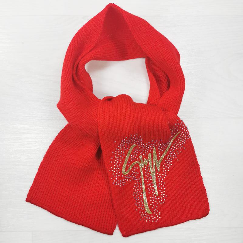 ш1006-23 Шарф детский со стразами S красный