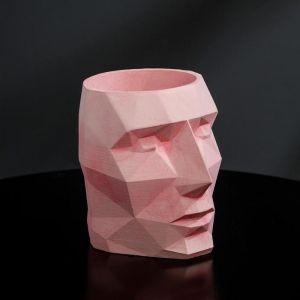 Кашпо розовое полигональное «Голова», 11 х 13 см 5270826