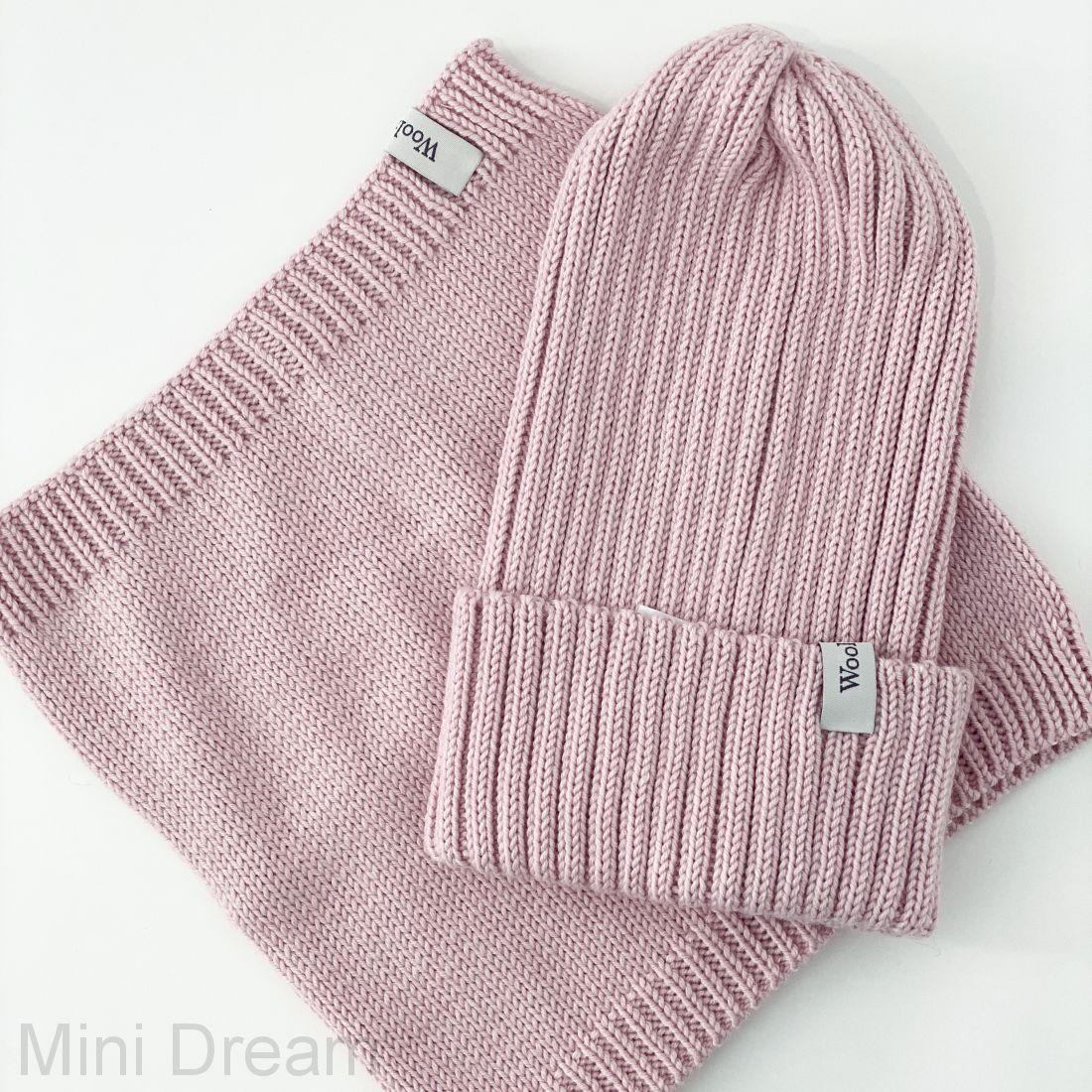 Комплект вязанный пудровый-розовый