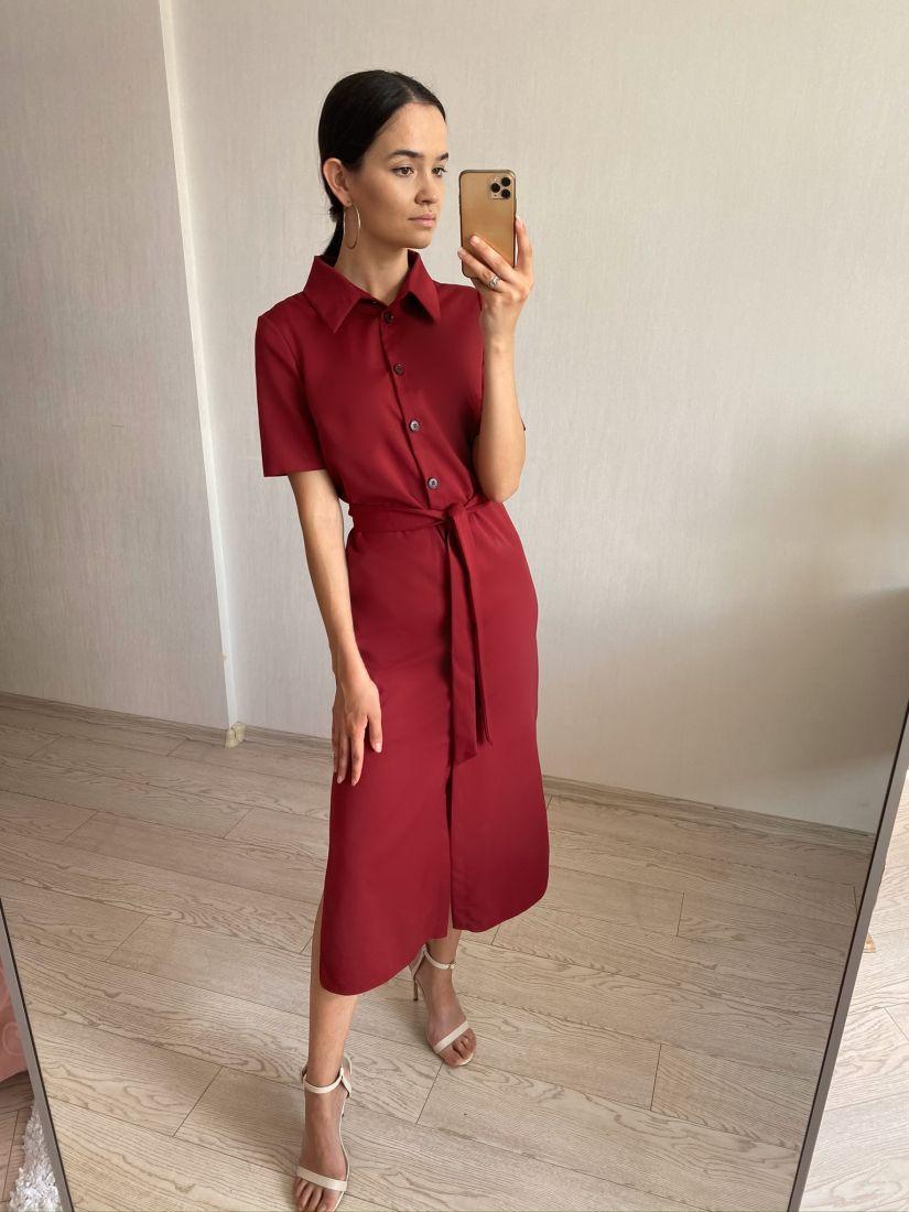 s2744 Платье-рубашка бордовое