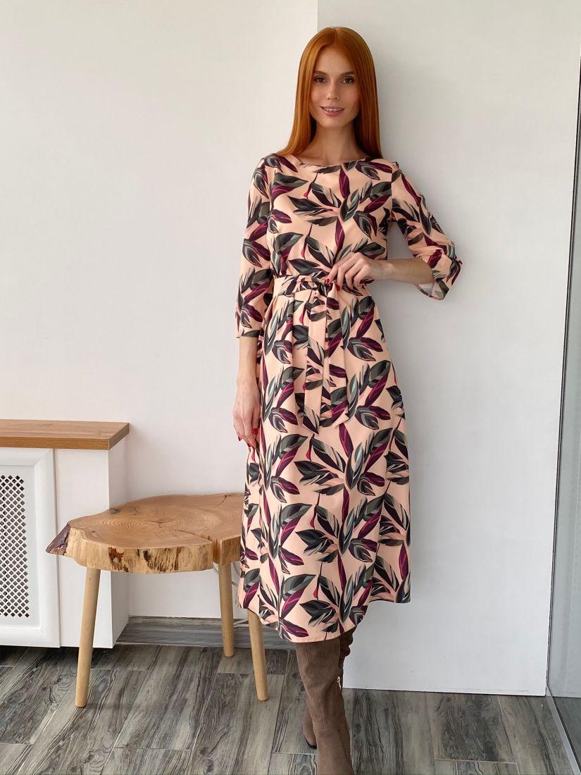 s2752 Платье-миди бежевое с принтом