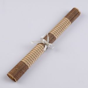 Салфетка плетёная бежевая с коричневым, 30х50, бамбук 4624006
