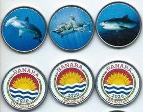 Акула Набор монет 2 доллара Банаба (Кирибати) 2020 (3 монеты)