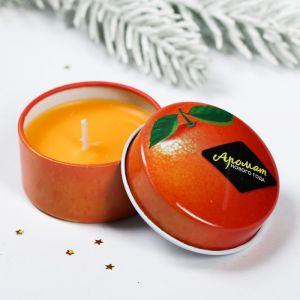 Новогодняя свеча «Апельсин», в железной банке 4273780