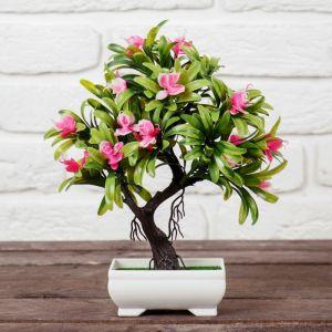 """Бонсай """"Деревце с тонкими листьями и цветами"""" 10*24 см микс   4142812"""