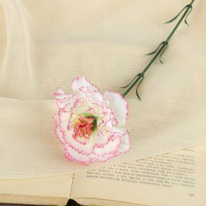 """Цветок искусственный """"Бело-розовая гвоздика"""""""