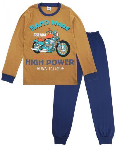"""Пижама для мальчика 9-12 лет Bonito kids """"Moto"""" коричневая"""