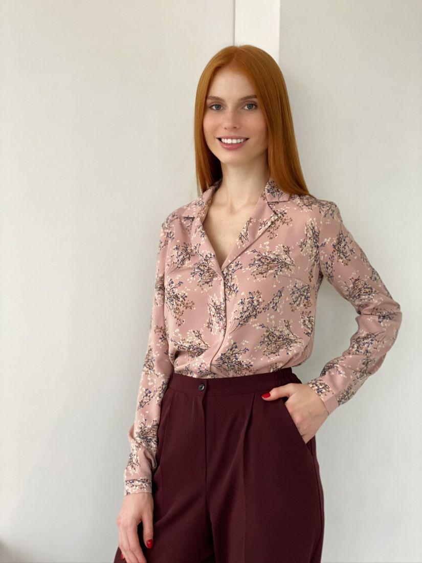 s2759 Блуза с английским воротником пудровая
