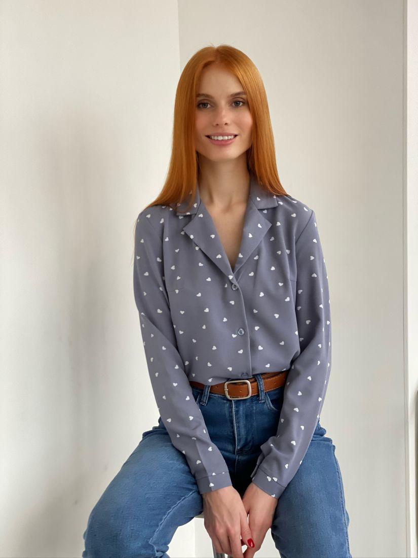 s2760 Блуза с английским воротником серо-голубая