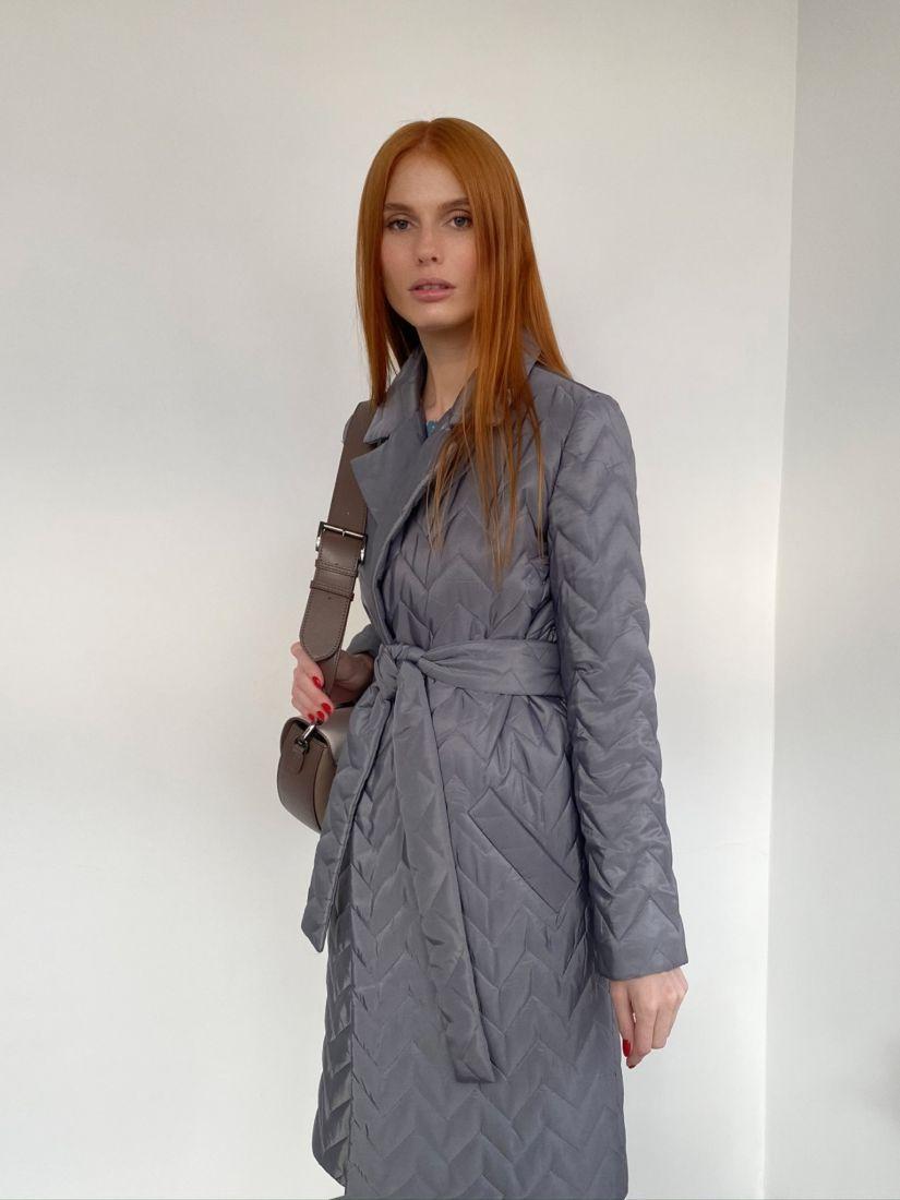 """s2783 Пальто с паркетной стёжкой в цвете """"мокрый асфальт"""""""