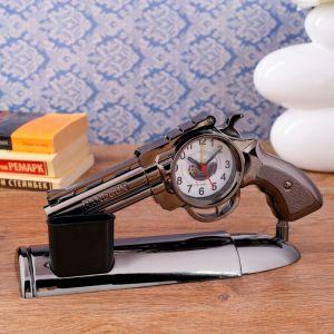 """Часы будильник """"Пистолет"""" на подставке, 13х25 см 1716971"""