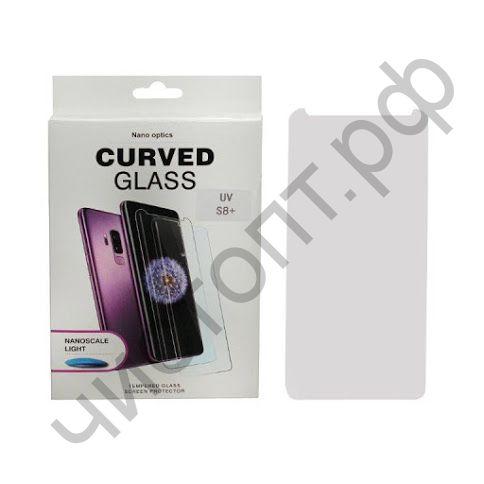 Защитное стекло 3D Samsung S8 Plus UV Glue (ультр.фиолет. клей) в наборе уф лампа скрывает дефекты дисплея