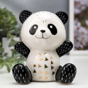 "Сувенир керамика ""Весёлая панда"" бело-чёрный с золотом 13х9,6х11 см   4847506"