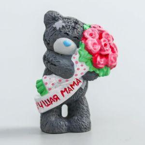 """Сувенир полистоун """"Медвежонок Me to you с букетом розовых роз - Лучшая мама"""" 4,5 см   4518161"""