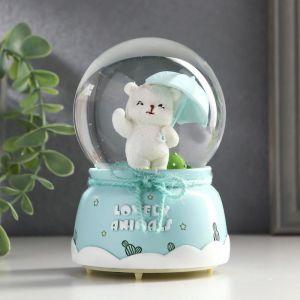 "Сувенир полистоун водяной шар свет, музыка ""Белый мишка на прогулке"" МИКС 12х8х8 см   5120791"