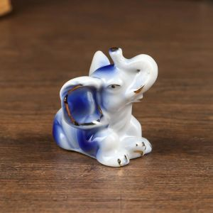 "Сувенир керамика ""Маленький слоник"" синий с золотом 4,6х5,8х3,5 см   4825571"